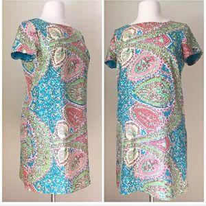 Talbots silk abstract paisley Shift Dress 16